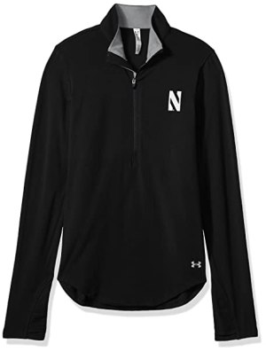 Under Armour NCAA Northwestern Wildcats Women's Cotton Lightweight 1/4 Zip Tee, Medium, Black