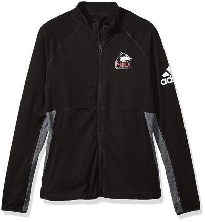 adidas NCAA Northern Illinois Huskies Adult Women Logo Performer Full Zip Jacket, Small, Black