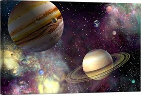 Amazon.com: LightFairy Glow in The Dark Canvas Painting - Stretched and  Framed Giclee Wall Art Print - Space Outerspace Planets Saturn and Jupiter  - Master Bedroom Living Room Décor - 36 x