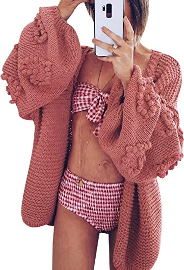 red pink cute cardigan with details stylish fashionable