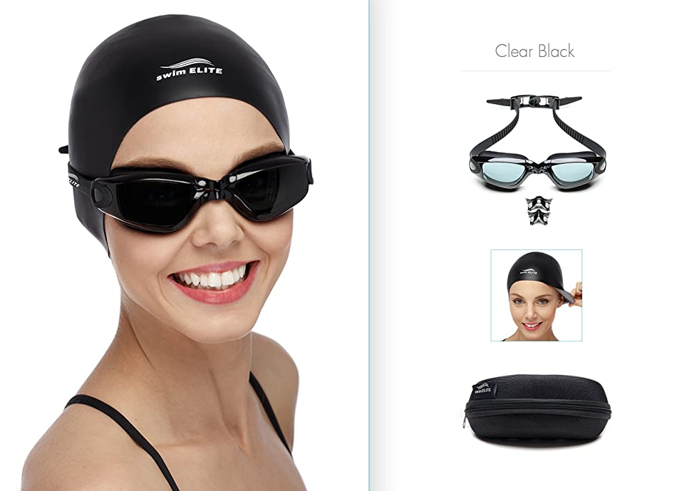 Swim Goggles + Reversible Swimming Cap + Protective Case • Exclusive Set