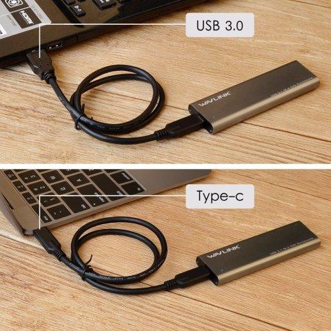 Wavlink M.2 SATA SSDケース USB3.1 Gen2 2種類のUSBケーブル 使用例