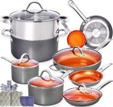 Copper Pots and Pans Set - 13pc Copper Cookware Set Copper Pan Set Ceramic Cookware Set Ceramic Pots and Pans Set Induction Cookware Sets Pot and Pan Set