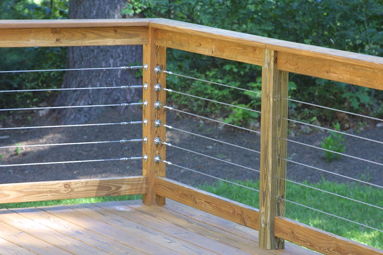Raileasy Turnbuckle For Cable Railing S0981 0004 Decking   Wood And Wire Stair Railing   Hampton Style   Exterior   Closed Staircase   Horizontal Round Bar   Square Wire