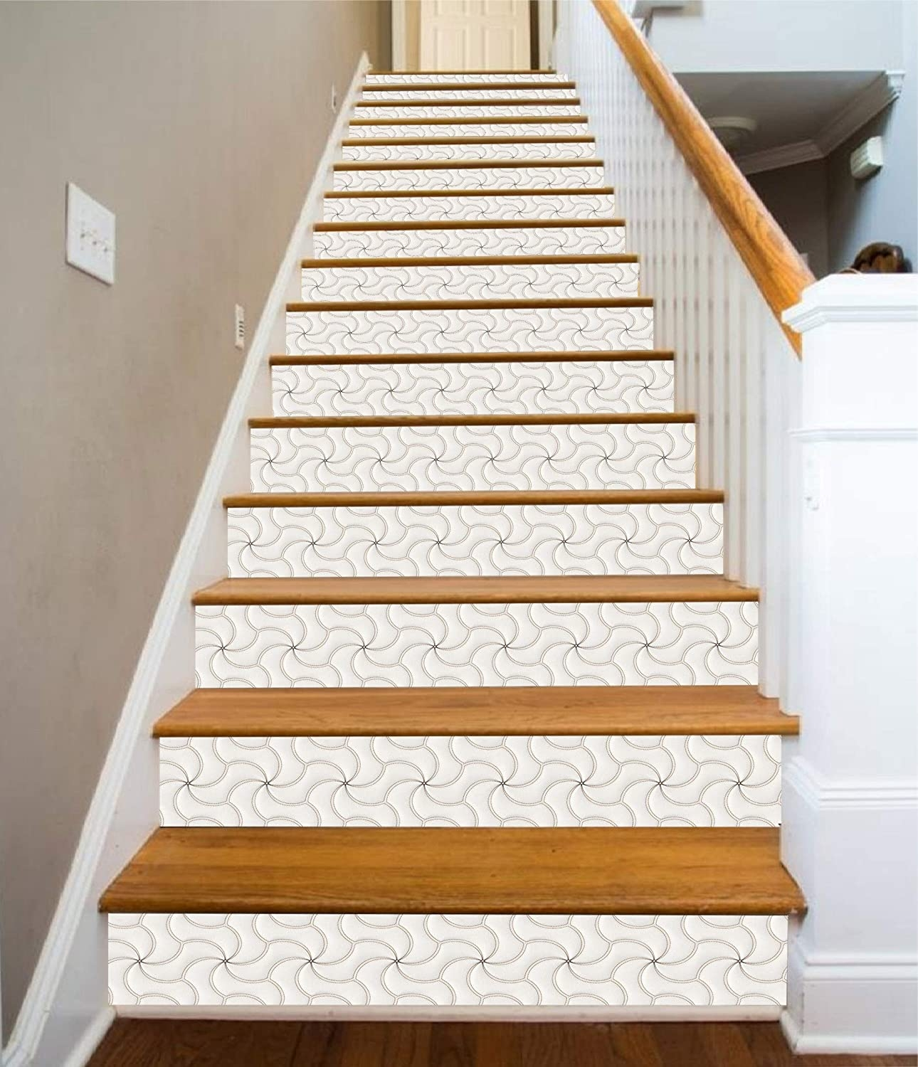3D White Windmill 5793 Pattern Tile Marble Stair Risers Decoration | Wood Steps With White Risers | Timber | Wood Stair | Before And After | Color | Stair Tread