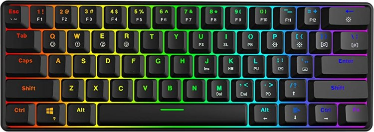 GK61 Mechanical Gaming Keyboard - 61 Keys Multi Color RGB Illuminated LED Backlit Wired Gaming Keyboard, Waterproof Programmable, for PC/Mac Gamer, Typist (Gateron Optical Brown, Black): Amazon.ca: Electronics