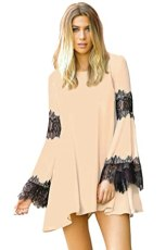 Elan Women's Boho Chiffon and Lace Tunic Dress (Small)