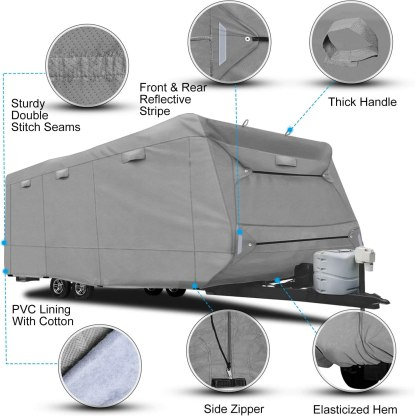 RVMasking Heavy Duty 5 Layers Top Travel Trailer RV Cover