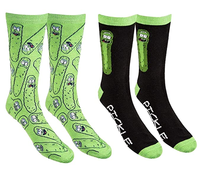 Men's Rick And Morty Casual Crew Socks (Pickle Rick), 6-12
