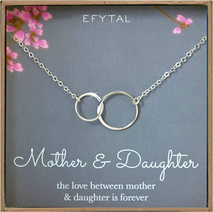 Mother & Daughter Sterling Silver Necklace