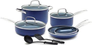 Blue Diamond Pan Toxin Ceramic Nonstick Cookware Set, 10 Piece