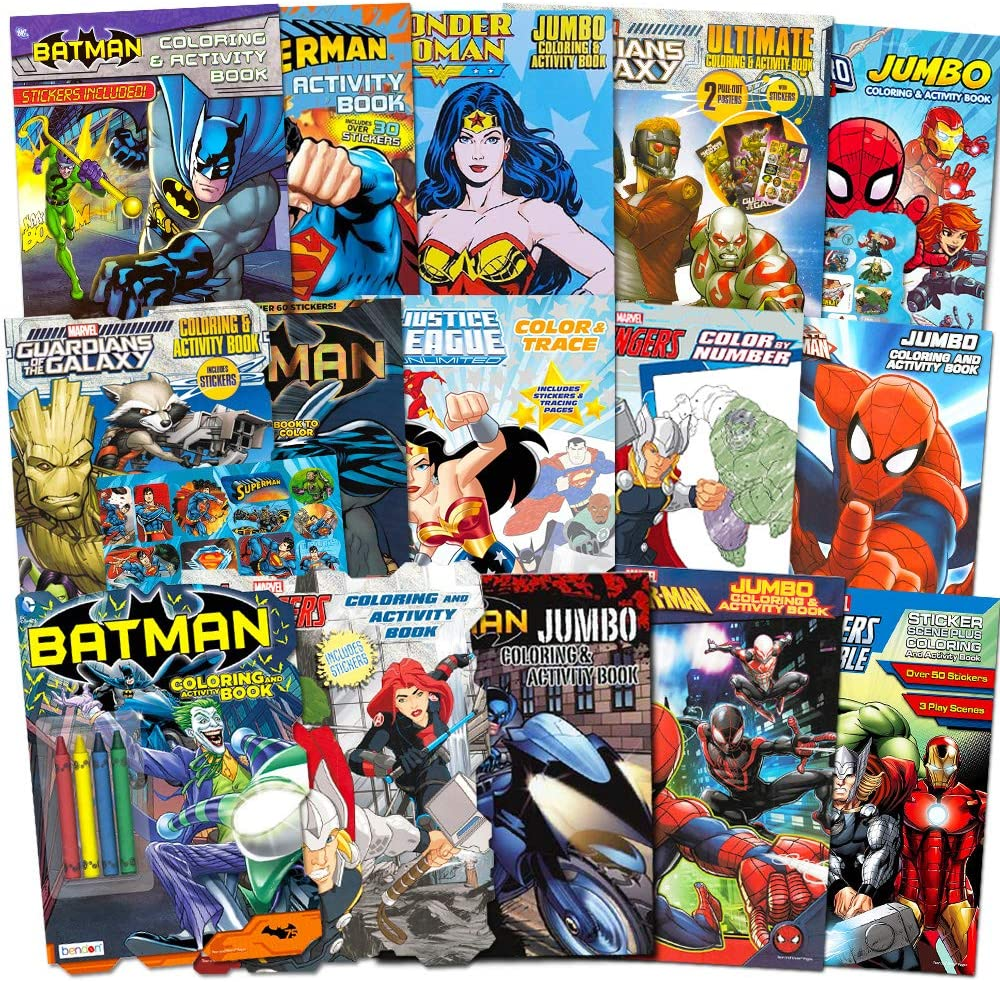 Amazon Com Superhero Ultimate Coloring Book Assortment 15 Books Featuring Avengers Spiderman Justice League Batman And More Includes Stickers Toys Games
