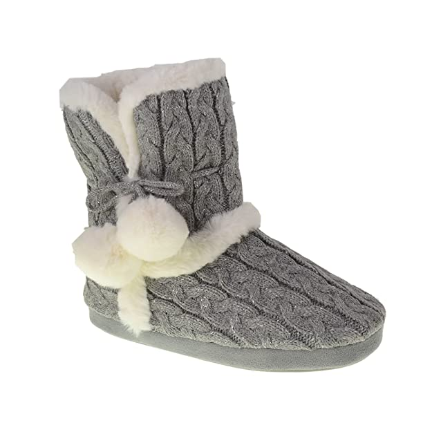 soft cable knit bootie slippers,