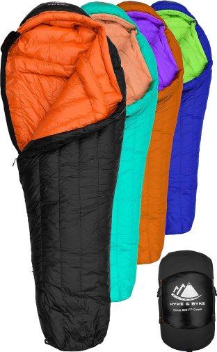 Amazon.com : Hyke & Byke Eolus 0 Degree F 800 Fill Power Hydrophobic Goose  Down Sleeping Bag with ClusterLoft Base - Ultra Lightweight 4 Season Men's  and Women's Mummy Bag Designed for