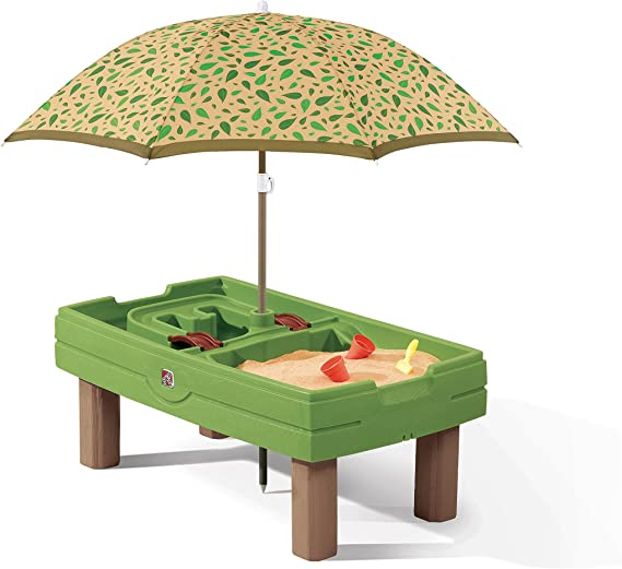 Amazon Com Step2 Naturally Playful Sand Water Activity Center Kids Sand Water Table With Umbrella Toys Games