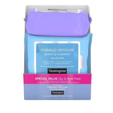 Neutrogena Day & Night Wipes with Makeup Remover Face Cleansing Towelettes & Night Calming Facial Cloths, Alcohol-Free Wipes to Remove Dirt, Oil & Waterproof Mascara