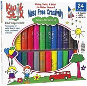 Pencil Grip Kwikstix Solid Tempera Paint 24ct, Super Quick Drying, 12 Classic, 6 Neon, 6 Metallix Colors (TPG-604)