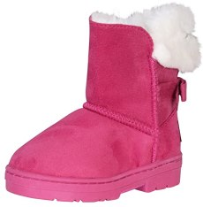 bebe Toddler Girls\' Faux Fur Lined Winter Boots with Back Bow, Fuchsia, Size 6'