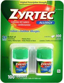 Zyrtec Cetrizine HCl/Antihistamine
