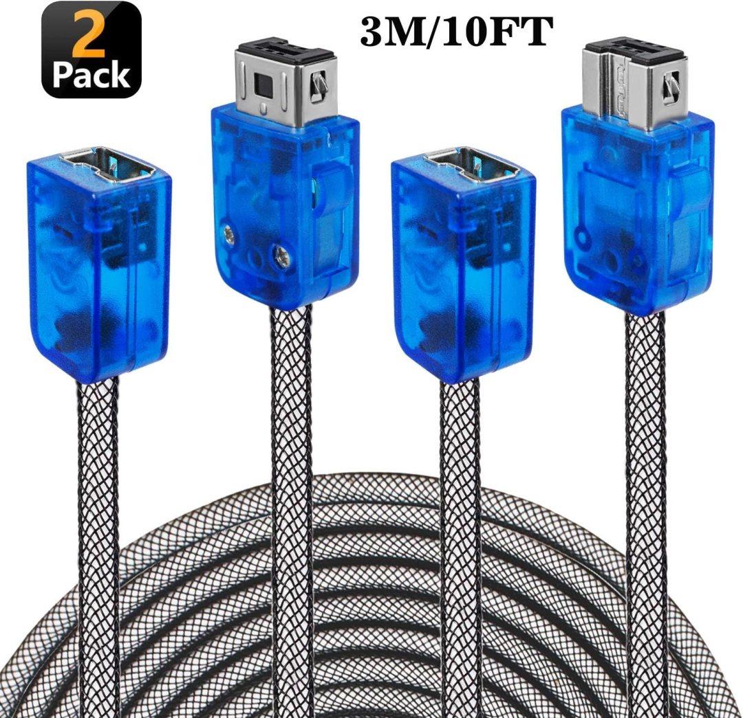 Exlene? Snes Manette Classique Câble d'extension 3m/3m (2-Pack) pour 2017Nintendo Snes Classic Mini Controller, NES Controller, Wii Controller Noir