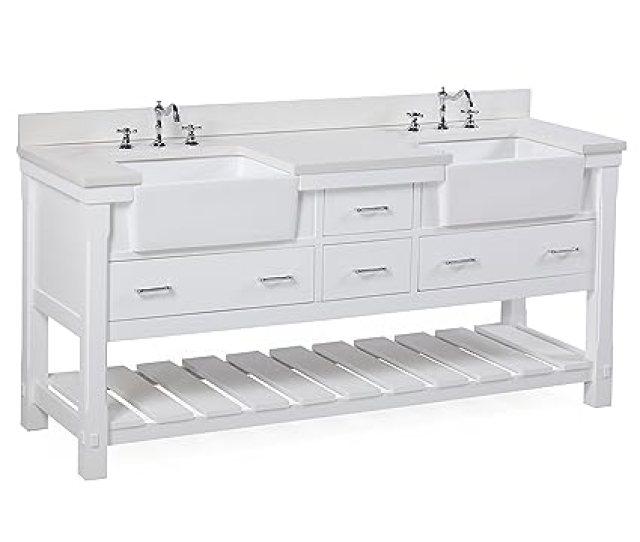Charlotte 72 Inch Bathroom Vanity Quartz White Includes A White Quartz