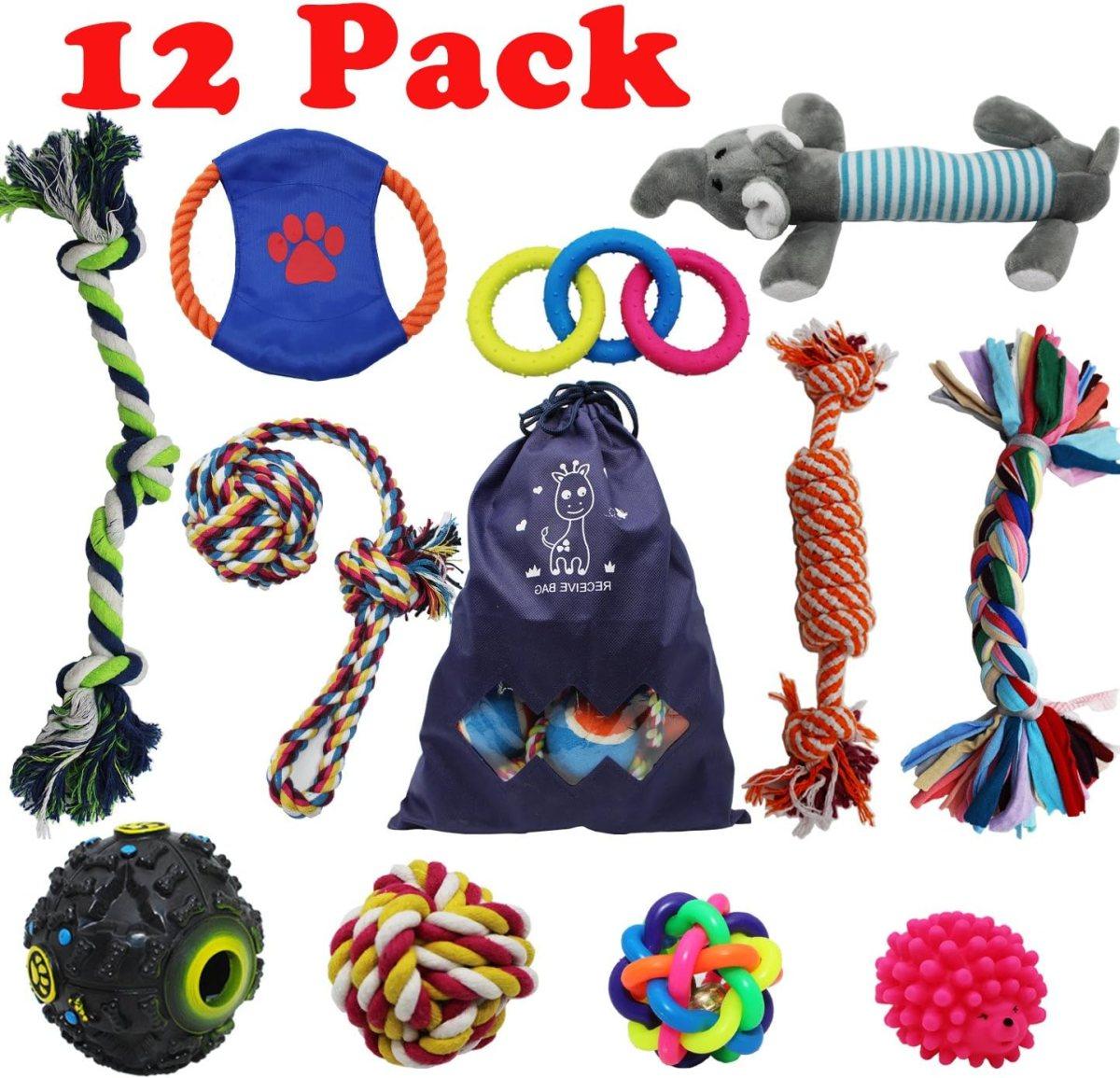 Forwindog Juego de 12 Juguetes para Masticar para Perros pequeños y medianos