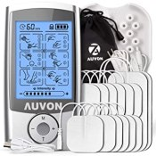 """AUVON Rechargeable TENS Unit Muscle Stimulator, 3rd Gen16 Modes TENS Machine with Upgraded Self-Adhesive Reusable TENS Electrodes Pads (2""""x2"""" 12pcs, 2""""x4"""" 2pcs)"""