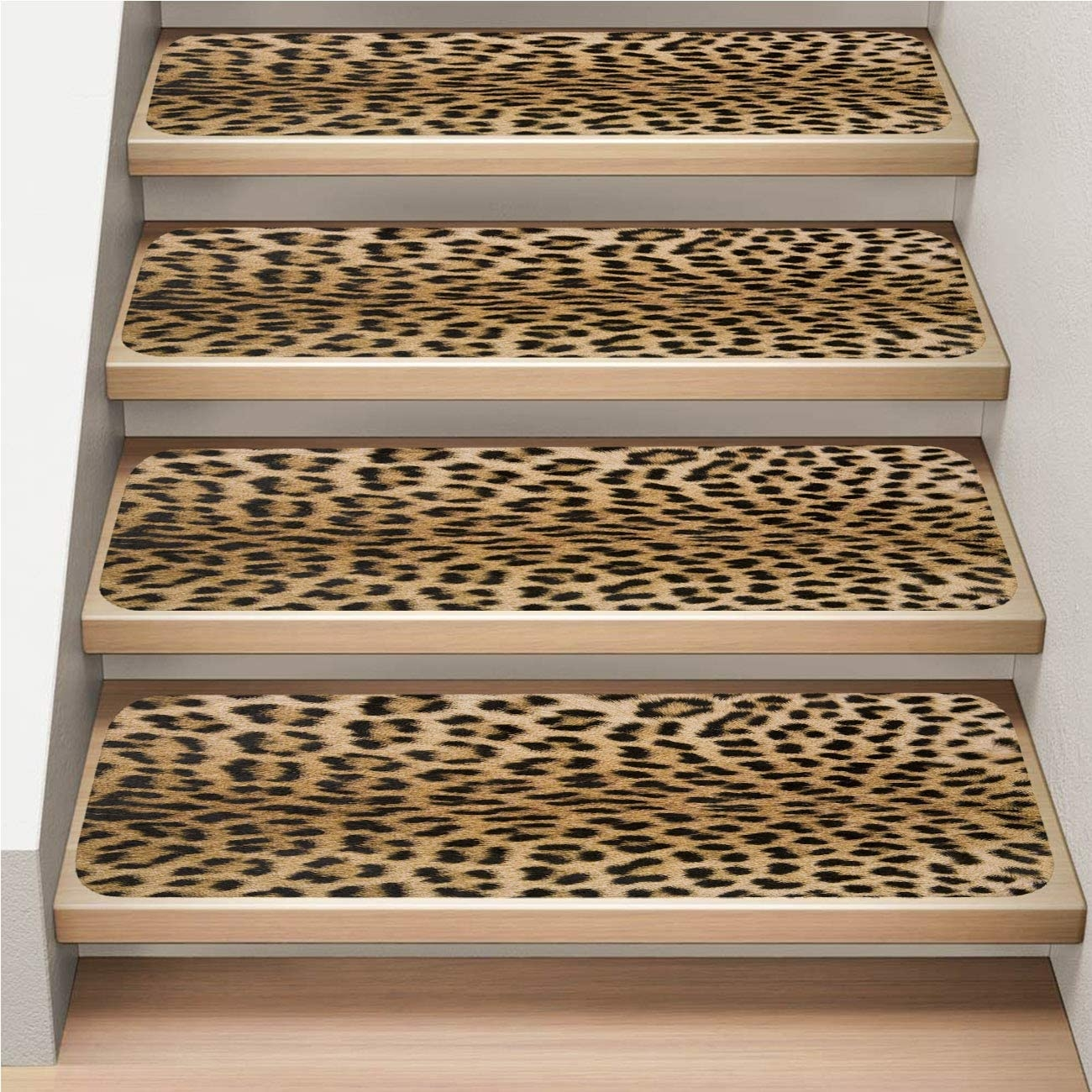 7 Pack Carpet Stair Tread Non Slip Soft Skin S Texture 2 Of | Leopard Carpet On Stairs | Diamond Pattern | Fawn | Stark | Carpeted | Striped