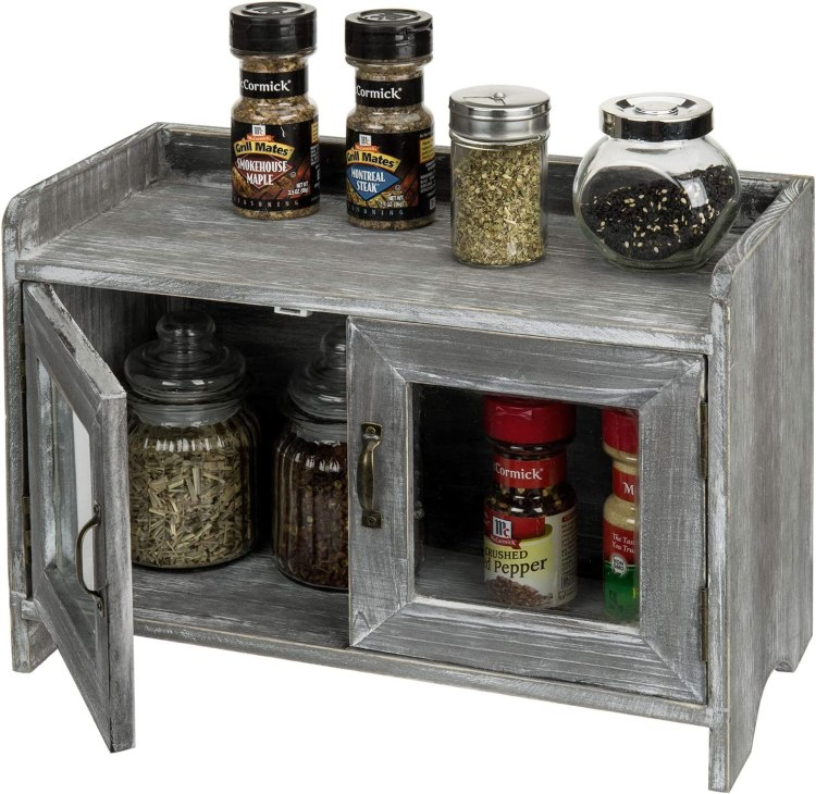 Amazon Com Mygift Rustic Gray Whitewashed Wood Kitchen Bathroom Counter Top Storage Cabinet With Glass Windows Furniture Decor