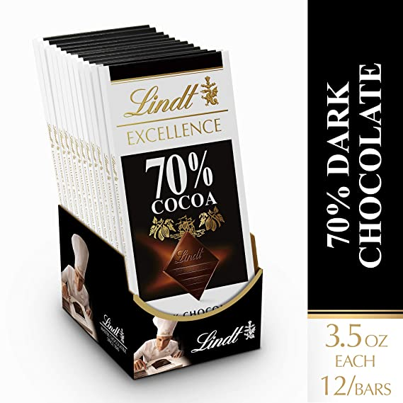 Lindt Excellence Bar, 70% Cocoa - Pack of 4