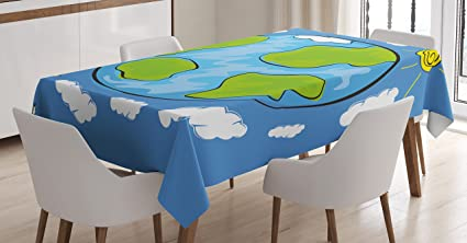 Ambesonne Earth Tablecloth, Child's Drawing of The Planet Earth Surrounded with Clouds Day and Night Cycle, Dining Room Kitchen Rectangular Table Cover, 52 W X 70 L Inches, Blue Green White