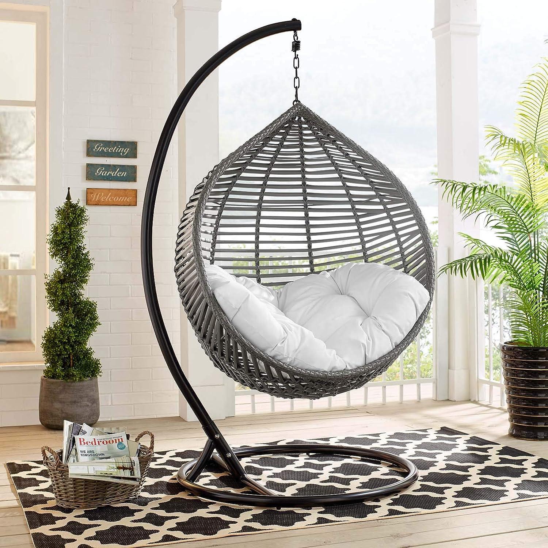 Amazon Com Modway Garner Outdoor Patio Wicker Rattan Teardrop Swing Chair In Gray White Garden Outdoor