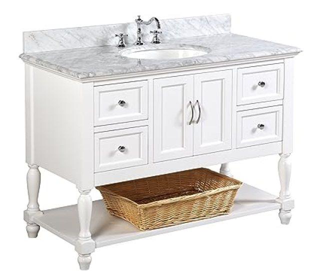 Beverly 48 Inch Bathroom Vanity Carrara White Includes Authentic Italian Carrara
