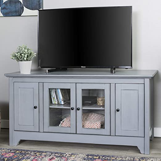 Amazon Com Walker Edison Furniture Company Wood Universal Stand With Storage Cabinets For Tv S Up To 58 Flat Screen Living Room Entertainment Center 52 Inch Antique Grey Furniture Decor