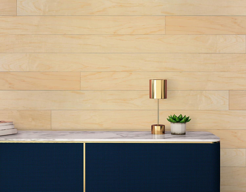 Amazon Com Novogratz Genuine Hardwood Wall Panels Diy Simple Peel Stick Application 20 Sq Ft Of 5 1 Wide Panels Classic Maple Home Improvement