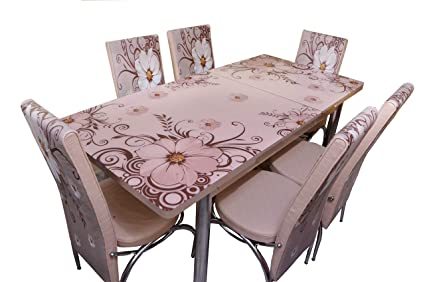 Loyal Furnitures Floral Beige 6 Seater Extendable Digital Print Tempered Glass Top Dining Table Set Amazon In Home Kitchen
