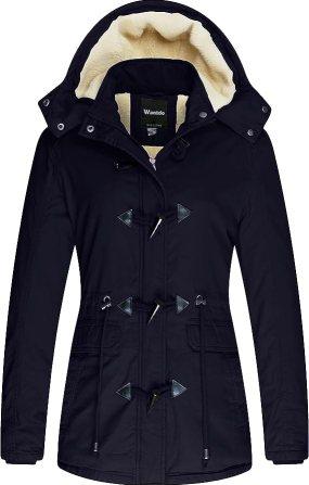 Wantdo Women's Winter Parka Fleece Snow Jacket with Detachable Hood(Navy,Medium)