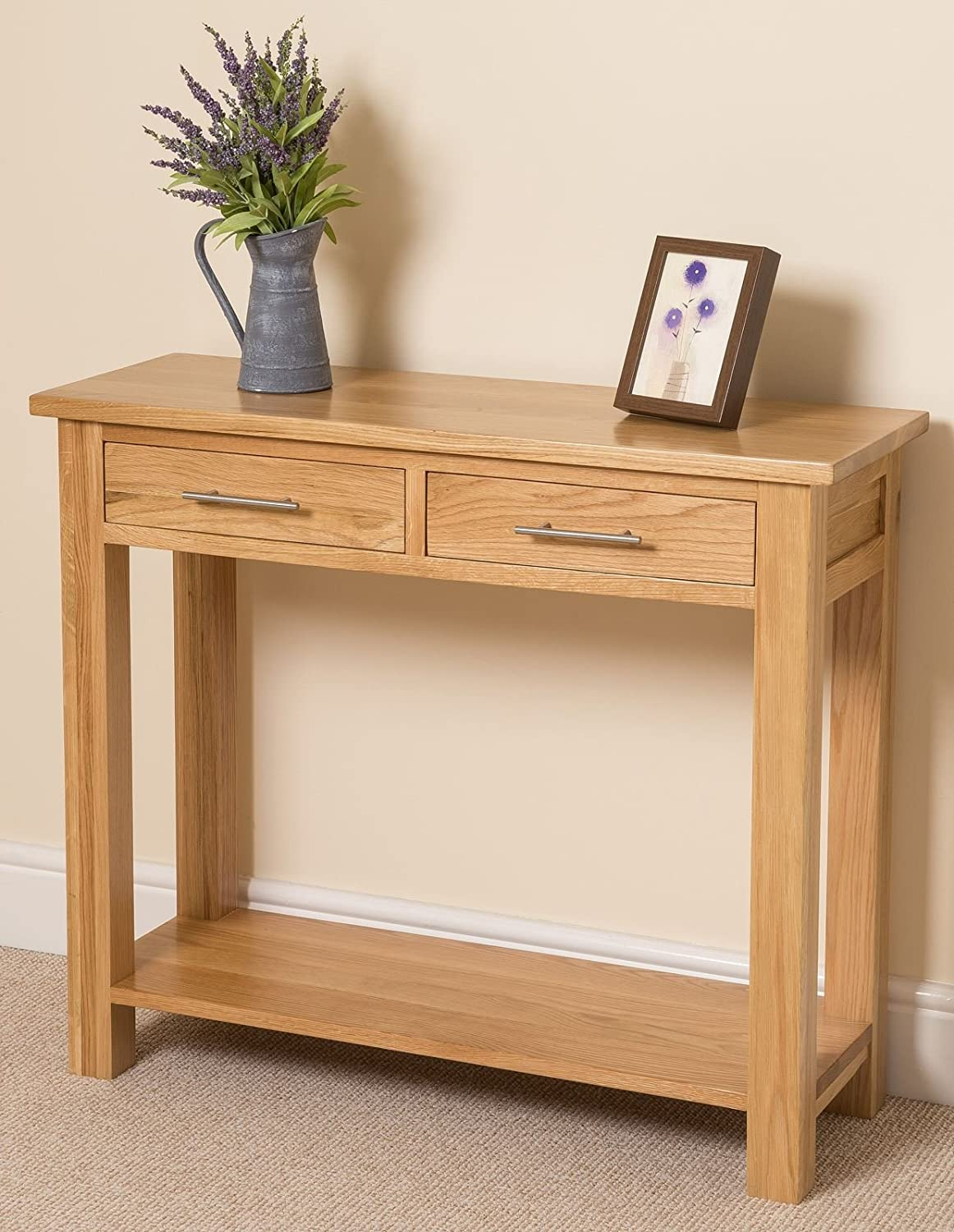 Oslo Solid Oak Console Table 100 X 35 X 85 Cm Amazon Co Uk Kitchen Home