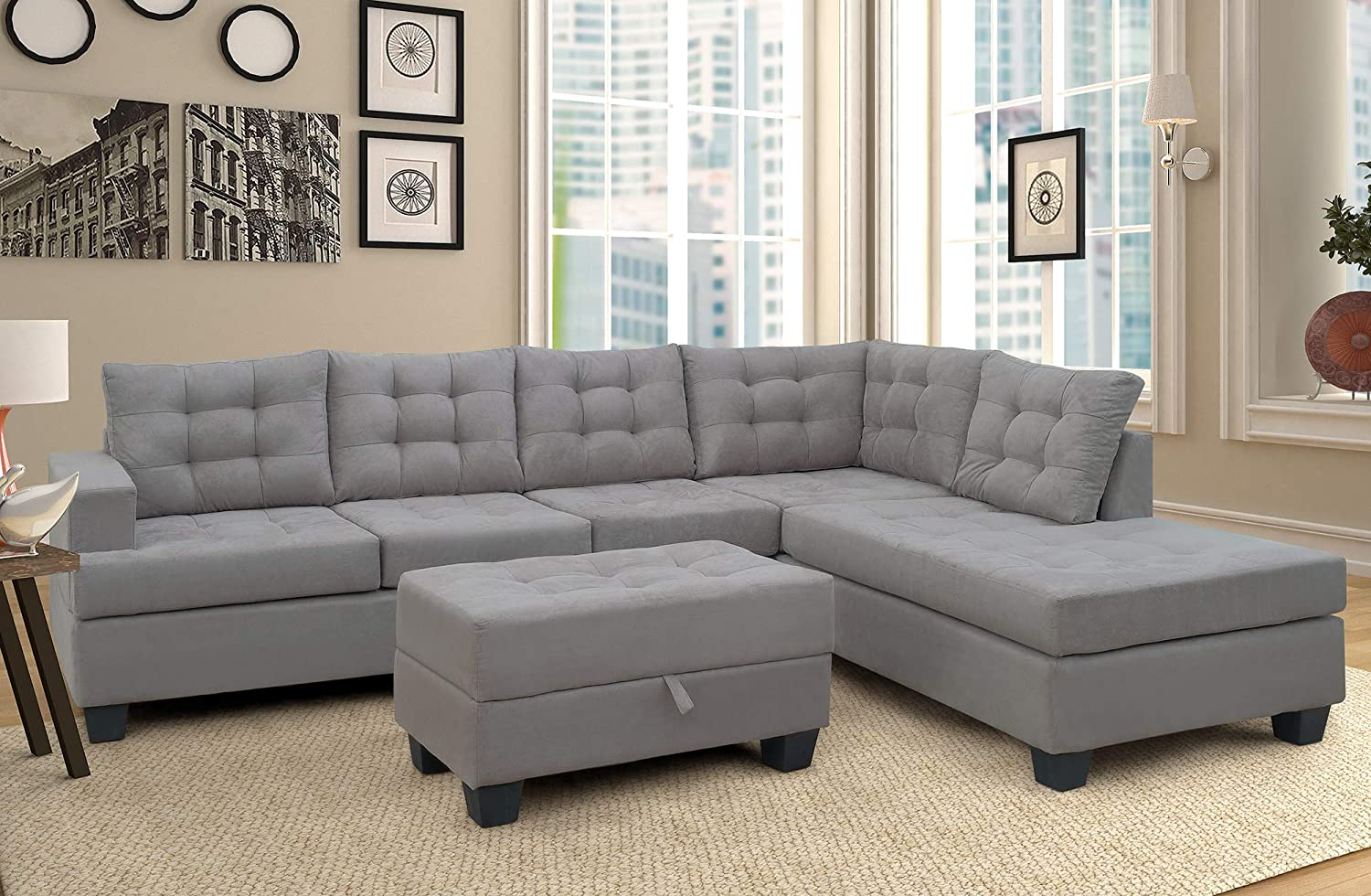Amazon Com Merax Sectional Sofa With Chaise And Ottoman 3 Piece Sofa For Living Room Furniture Gray Furniture Decor