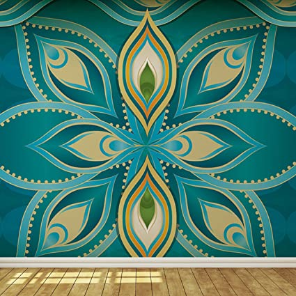 Blue Teal And Gold Exotic Indian Pattern Wallpaper Mural Amazon Com