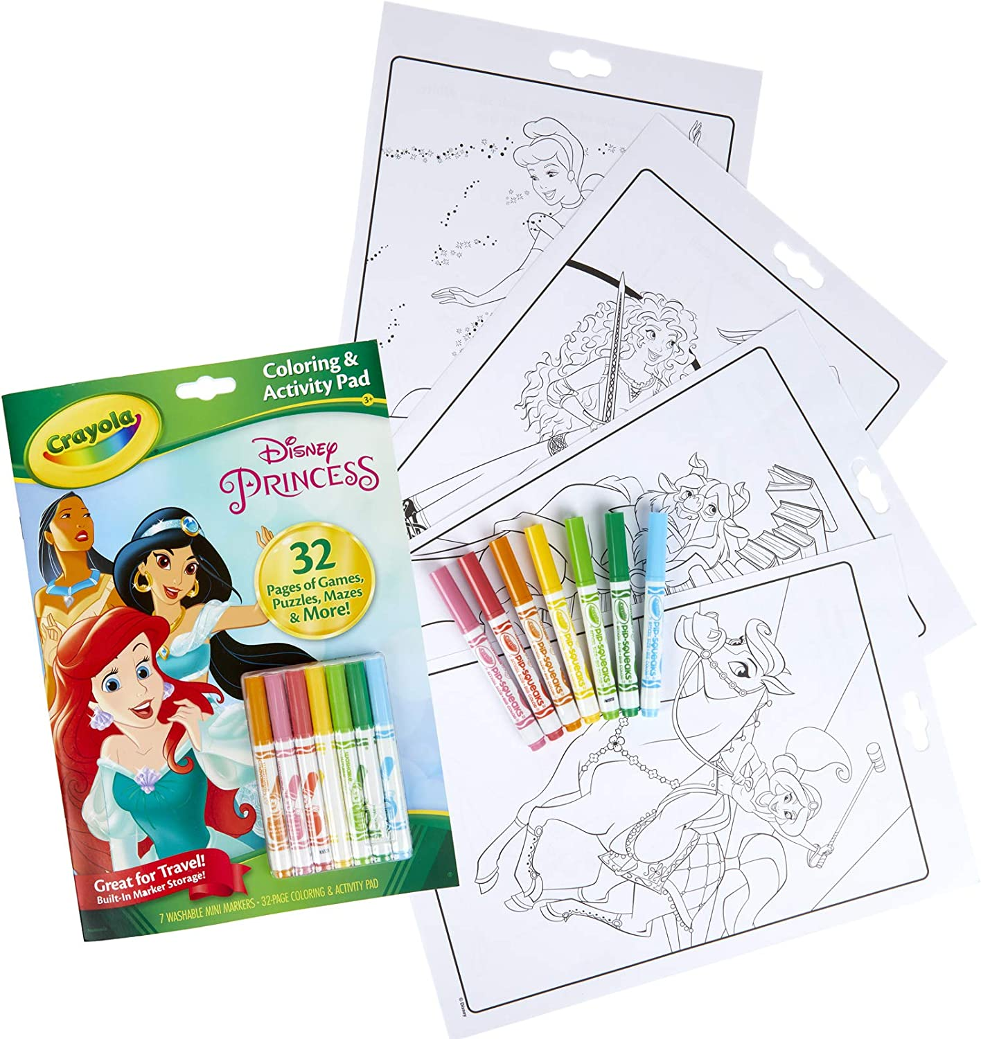 Amazon Com Crayola Disney Princess Color Activity Book 32 Coloring Pages 7 Mini Markers Gift For Kids Packaging May Vary Toys Games