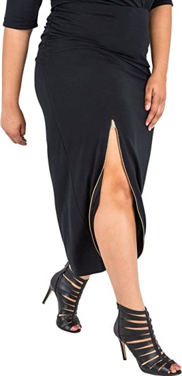 Poetic Justice Plus Size Curvy Women's Stretch Maxi Skirt with Zip Up Split
