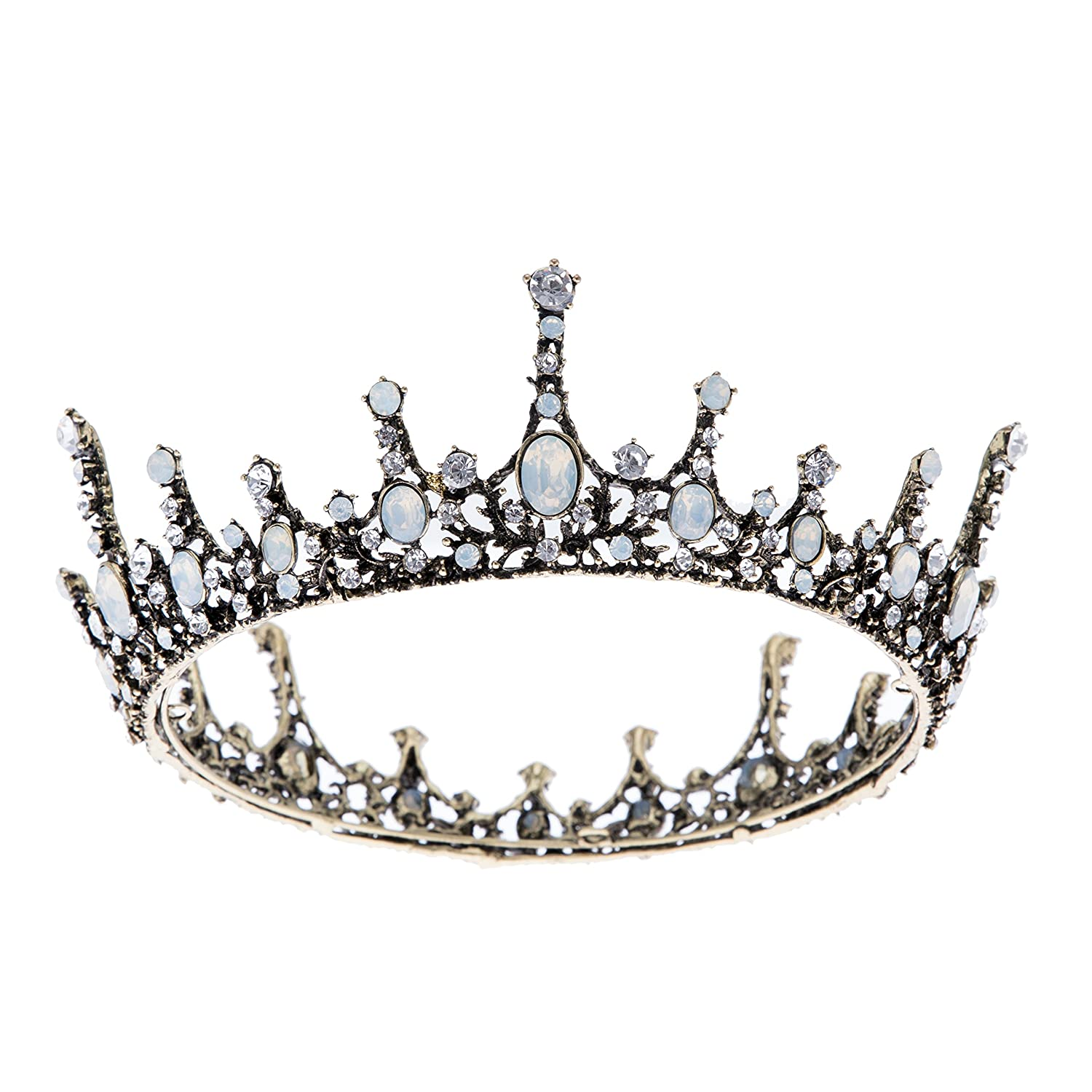 Amazon Com Sweetv Crystal Baroque Queen Crown Vintage Princess Tiara Wedding Prom Pearl Hair Accessories For Women And Girls Beauty