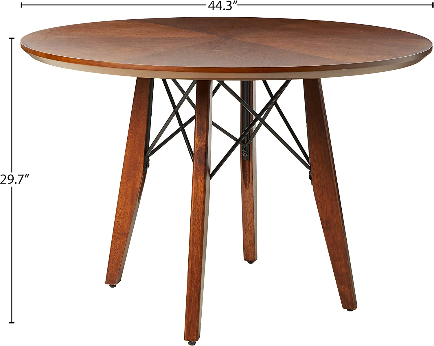 Amazon Com Ink Ivy Clark Dining Table Height Adjustable To Counter Height Round Solid Wood Sits 4 Mid Century Modern Kitchen Pub Style Breakfast Nook Furniture Pecan Table Chair Sets