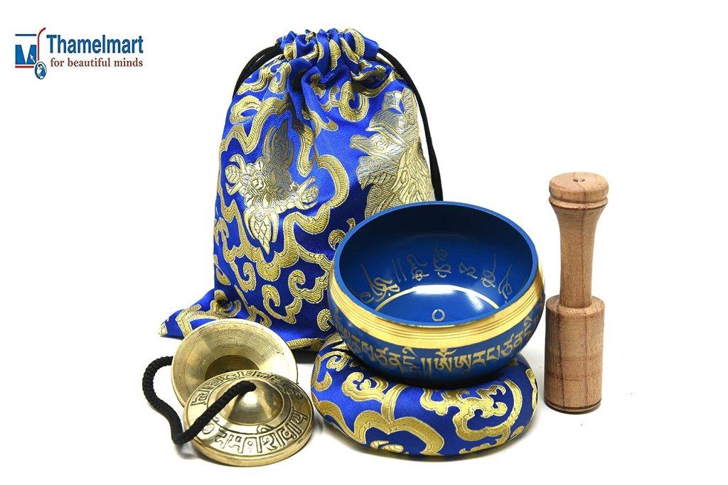 4 Inch Tibetan Meditation Yoga Singing Bowl Set with free wooden Mallet Cushion Om Tingsha Cymbals from Nepal, Singing bowls.