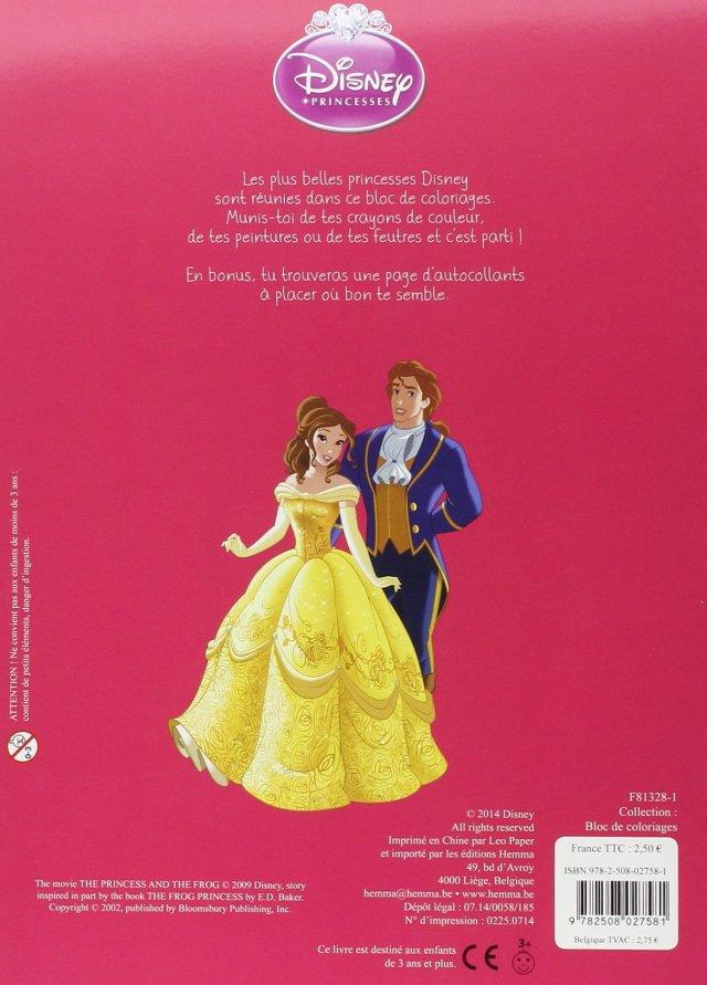 Disney Princesses - Bloc de coloriages avec stickers : DISNEY