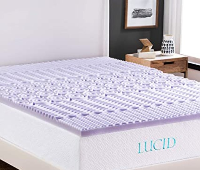 Amazon Com Lucid  Zone Lavender Memory Foam Mattress Topper Queen Home Kitchen