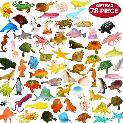 Amazon Com Valefortoy Ocean Sea Animals 78piece Mini Sea Life Creatures Toys Set Plastic Underwater Sea Animals Learning Toys For Boys Girls Kids Toddlers Party Bag Stuffers Gift Prize Pinata Sensory Toy Toys
