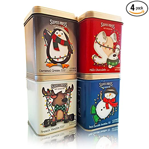 Swiss Miss Hot Cocoa Mix Assortment, Gift Pack 4 Tins, 6 oz Each - 24 oz Total. Perfect Christmas Gift