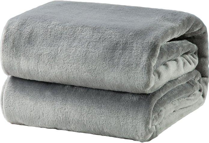 Fleece Blanket Throw Size Grey Lightweight Super Soft Cozy Luxury Bed Blanket Microfiber